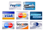 PayPal, Transferencia, Visa, Mastercard, American Express, Maestro, Discover, Diners Club